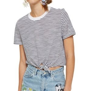 Topshop | striped front tie crop tee NWT size 10